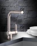 Lage druk keukenkraan LONDON ééngreepsmengkraan keuken, met uittrekbare sproeier, RVS-look HRG-336_