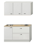 Kitchenette Wit hoogglans 140cm met schuif laden KIT-384_