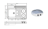 RVS aanrechtblad opleg 90cm x 60cm met 2-pit Keramische kookplaat RAI-285_