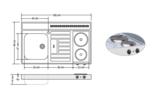 RVS aanrechtblad opleg 100cm x 60cm met 2-pit Elektrische kookplaat RAI-2550_