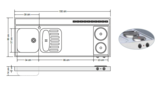 RVS aanrechtblad opleg 150cm x 60cm met 2-pit Elektrische kookplaat RAI-2590_