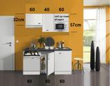 Kitchenette 160cm wit hoogglans met vaatwasser en koelkast en kookplaat en magnetron en afzuigkap RAI-4332_