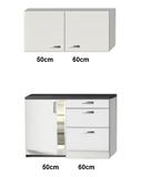 Keukenblok wit hoogglans 110cm met koelkast OPTI-245_