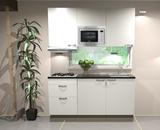 Keukenblok 180cm wit hoogglans incl gas-kookplaat, afzuigkap en magnetron RAI-11028_