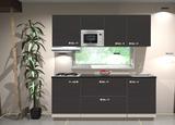 Keukenblok 210cm Antraciet incl gas-kookplaat, afzuigkap en magnetron RAI-11026_