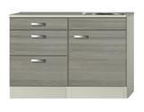 Keukenblok Grijs-bruin Vigo 120cmmet 3 laden  RAI-515_