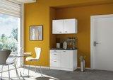 minikeuken 100cm wit hoogglans met bovenkasten en e-kookplaat RAI-11002_
