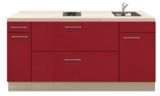 Kitchenette 180cm Rood Hoogglans met een ladenkast RAI-1179_