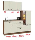 Keukenblok 180cm Cream met koelkast en kookplaat RAI-3401_