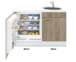 Kitchenette 100cm Padua Houtnerf incl mini inbouw koelkast RAI-2253