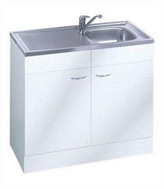 Keukenblok Klassiek 60 Wit met RVS aanrecht 100cm x 60cm SPL100-6-OPTI-64