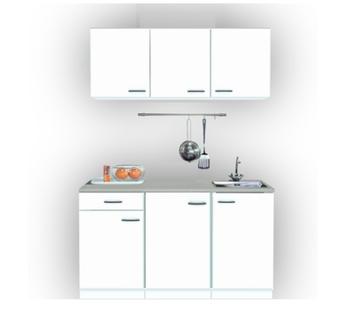 Keukenblok 150cm wit klassik met rvs spoelbak RAI-0099