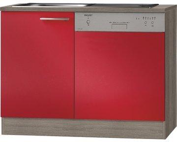 Keukenblok incl vaatwasser Imola signaal rood satijn (BxHxD) 110 x 84 x 60 cm HRG-11660