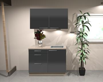Keukenblok 100 cm Antraciet hoogglans RAI-1346
