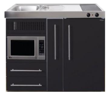 MPM 120 A Zwart mat met koelkast, apothekerskast en magnetron RAI-9546