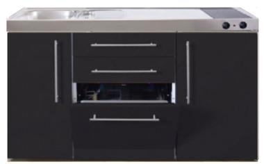 MPGS 150 Zwart mat met vaatwasser en koelkast RAI-9543