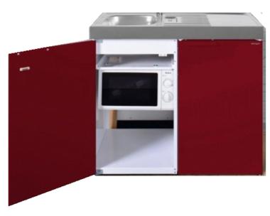MKM 100 Bordeauxrood met koelkast en losse magnetron RAI-9573