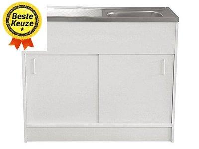 Keukenblok 60x100 Wit met schuifdeuren + RVS aanrechtblad RAI-65