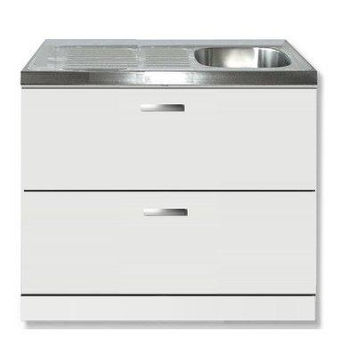 keukenblok wit hoogglans 100 x 60 cm met met schuif laden en RVS aanrechtblad.jpg