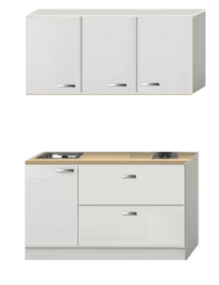 Kitchenette Wit hoogglans 130cm met schuif laden KIT-384