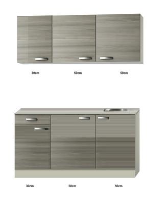 Keukenblok 130cm vigo grijz-bruin met bovenkasten RAI-43131