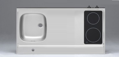 RVS aanrechtblad opleg 100cm x 60cm met 2-pit Keramische kookplaat RAI-2551
