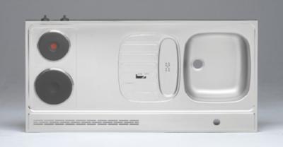 RVS aanrechtblad opleg 120cm x 60cm met 2-pit Elektrische kookplaat RAI-2553