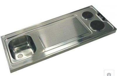 2-pit Aanrechtblad 100cm x 60cm met spoelbak en  e-kookplaten RAI-180