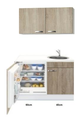 Kitchenette 100cm Padua Houtnerf incl mini inbouw koelkast RAI-2254