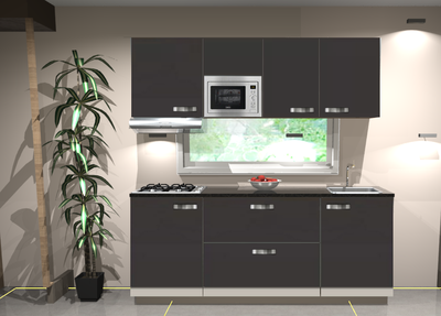 Keukenblok 210cm Antraciet incl gas-kookplaat, afzuigkap en magnetron RAI-11026