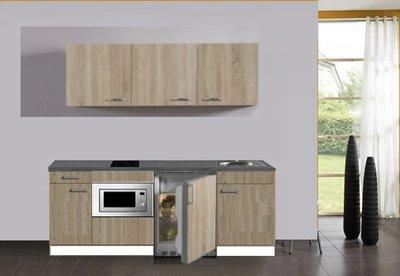 keukenblok 180 met inbouw koelkast,, magnetron en 2-pit kramisch kookplaat en wandkasten