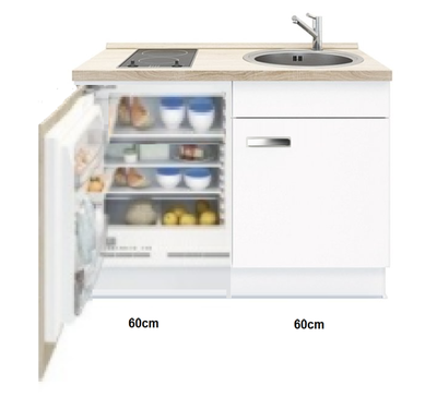 Keukenblok Lagos met inbouw koelkast en kookplaat 120cm RAI-441