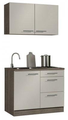 minikeuken 100cm wit-beuken met bovenkasten en e-kookplaat RAI-10012