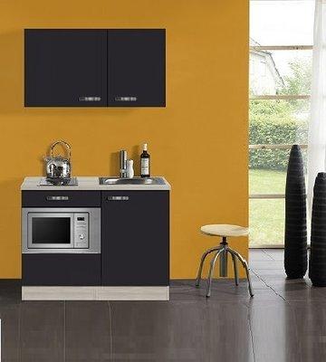 Kitchenette Faron Antraciet 100cm met onderbouw magnetron OPTI-0204