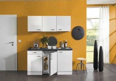 Keukenblok wit glanzend 150 cm koelkast en kookplaat met wandkasten RAI-430