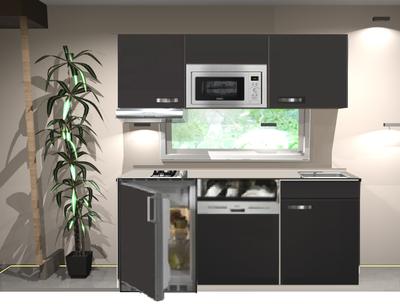 kitchenette Faro Antraciet mat 160cm met vaatwasser, koelkast, e-kookplaat, afzuigkap en magnetron RAI-033