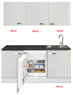 Keukenblok wit hoogglans 180 cm incl inbouw koelkast RAI-509