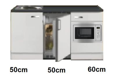 Keukenblok 160 wit hoogglans incl rvs spoelbak en koelkast en magnetron RAI-514