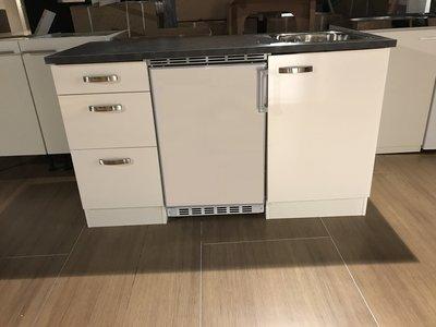 Voorgemonteerde kitchenette 140cm incl koelkast