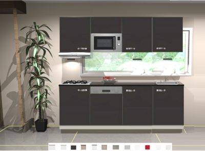Keukenblok 150 cm Antraciet mat incl gas-kookplaat, afzuigkap, vaatwasser en magnetron RAI-11028