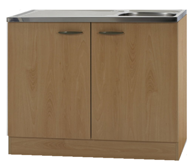 Keukenblok Klassiek 60 Beuken met RVS aanrecht 100cm x 60cm OPTI-68