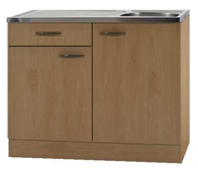 Keukenblok Klassiek Beuken 60 met een la, RVS aanrecht 100cm x 60cm OPT-99
