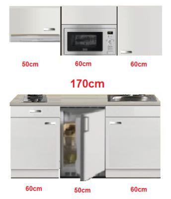 Kitchenette 170cm wit hoogglans met koelkast en kookplaat en magnetron en afzuigkap RAI-4331