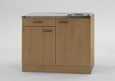 Keukenblok Klassiek Beuken 60 met een la, RVS aanrecht 100cm x 60cm SPL106-6-OPT