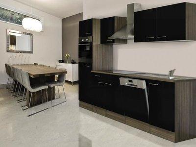 Keuken Compleet Hoogglans Zwart 280cm HUS-1598
