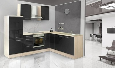 L-keuken Akazia zwart Hoogglans  260x200cm CHI-9179