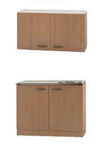Klassiek 50 keukenblok met spoelbak en bovenkast Beuken 50cm x 100cm OPTI-4103