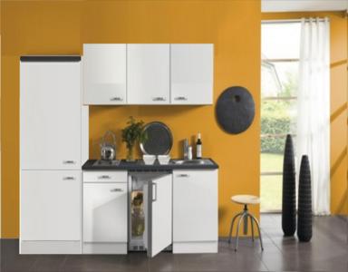 Minikeuken 210 cm, onderbouwkoelkast, Inbouwkookplaat met 2 kookplaaten edelstaal 2100-9