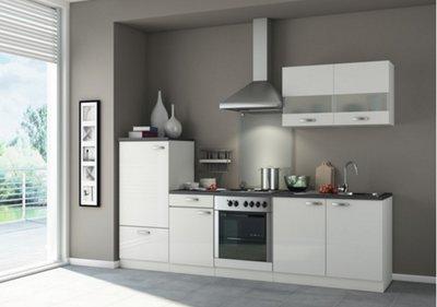 Kitchenette 270 cm Hoogglans wit incl. Inbouwapparatuur OPTI-225