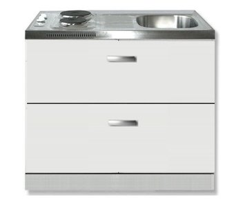 keukenblok wit hoogglans 100 x 60 cm met met schuif laden en 2-pit kookplaat